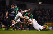 2 February 2019; Garry Ringrose of Ireland is tackled by Mark Wilson, left, and Jamie George of England during the Guinness Six Nations Rugby Championship match between Ireland and England in the Aviva Stadium in Dublin. Photo by Ramsey Cardy/Sportsfile