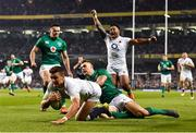 2 February 2019; Henry Slade of England dives over to score his side's third try despite the tackle of Garry Ringrose of Ireland during the Guinness Six Nations Rugby Championship match between Ireland and England in the Aviva Stadium in Dublin. Photo by Brendan Moran/Sportsfile