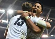 2 February 2019; Henry Slade of England celebrates after scoring his side's third try with teammate Manu Tuilagi during the Guinness Six Nations Rugby Championship match between Ireland and England in the Aviva Stadium in Dublin. Photo by Brendan Moran/Sportsfile