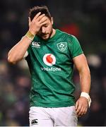 2 February 2019; Robbie Henshaw dejected following the Guinness Six Nations Rugby Championship match between Ireland and England in the Aviva Stadium in Dublin. Photo by Ramsey Cardy/Sportsfile