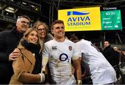 2 February 2019; Henry Slade of England pictured with, from left, his father John, his mother Jayne and his girlfriend Megan following the Guinness Six Nations Rugby Championship match between Ireland and England in the Aviva Stadium in Dublin. Photo by Brendan Moran/Sportsfile