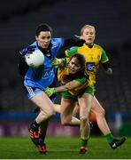 2 February 2019; Lyndsey Davey of Dublin in action against Katy Herron of Donegal during the Lidl Ladies NFL Division 1 Round 1 match between Dublin and Donegal at Croke Park in Dublin. Photo by Harry Murphy/Sportsfile