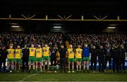 2 February 2019; Donegal players and management stand for a moments silence, as mark of respect to the recent victims of the road traffic accident in West Donegal, prior to the Allianz Football League Division 2 Round 2 match between Donegal and Meath at MacCumhaill Park in Ballybofey, Donegal. Photo by Stephen McCarthy/Sportsfile