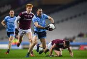 2 February 2019; Cormac Costello of Dublin in action against Peter Cooke, left, and Cillian McDaid of Galway during the Allianz Football League Division 1 Round 2 match between Dublin and Galway at Croke Park in Dublin.  Photo by Harry Murphy/Sportsfile