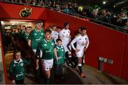 1 February 2019; Ireland team captain David Hawkshaw with team mascots Caoimhe Howard and Joshua Barry before the U20 Six Nations Rugby Championship match between Ireland and England at Irish Independent Park in Cork. Photo by Matt Browne/Sportsfile