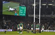 2 February 2019; Dejected Ireland players look on as a replay on the big screen shows Henry Slade of England scoring his side's fourth try during the Guinness Six Nations Rugby Championship match between Ireland and England in the Aviva Stadium in Dublin. Photo by Brendan Moran/Sportsfile