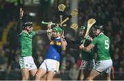 2 February 2019; Noel McGrath of Tipperary in action against Conor Boylan, Sean Finn and Diarmaid Byrnes of Limerick during the Allianz Hurling League Division 1A Round 2 match between Limerick and Tipperary at the Gaelic Grounds in Limerick. Photo by Diarmuid Greene/Sportsfile