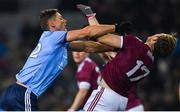 2 February 2019; Paul Flynn of Dublin pushes Gearóid Armstrong of Galway off the ball, before being shown a yellow card by referee Ciarán Branagan, during the Allianz Football League Division 1 Round 2 match between Dublin and Galway at Croke Park in Dublin. Photo by Piaras Ó Mídheach/Sportsfile