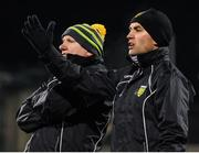 2 February 2019; Donegal selector Karl Lacey, right, and manager Declan Bonner during the Allianz Football League Division 2 Round 2 match between Donegal and Meath at MacCumhaill Park in Ballybofey, Donegal. Photo by Stephen McCarthy/Sportsfile