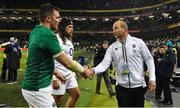 2 February 2019; Peter O'Mahony of Ireland shakes hands with England asistant coach Steve Borthwick during the Guinness Six Nations Rugby Championship match between Ireland and England in the Aviva Stadium in Dublin. Photo by Brendan Moran/Sportsfile