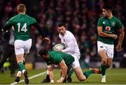 2 February 2019; Jonny May of England in action against Keith Earls, left, Robbie Henshaw, centre, and Conor Murray of Ireland during the Guinness Six Nations Rugby Championship match between Ireland and England in the Aviva Stadium in Dublin. Photo by Ramsey Cardy/Sportsfile