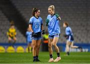 2 February 2019; Nicole Owens, right, talks tactics with Kate Sullivan of Dublin during the Lidl Ladies NFL Division 1 Round 1 match between Dublin and Donegal at Croke Park in Dublin. Photo by Harry Murphy/Sportsfile