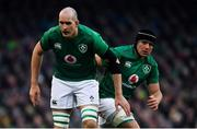 2 February 2019; CJ Stander, right, and Devin Toner of Ireland during the Guinness Six Nations Rugby Championship match between Ireland and England in the Aviva Stadium in Dublin. Photo by Ramsey Cardy/Sportsfile