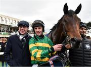 3 February 2019; Trainer Joseph O'Brien, left, and jockey Mark Walsh after winning the Tattersalls Ireland Spring Juvenile Hurdle with Sir Erec during Day Two of the Dublin Racing Festival at Leopardstown Racecourse in Dublin. Photo by Seb Daly/Sportsfile