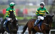 3 February 2019; Jockey Mark Walsh, right, on Sir Erec, is congratulated by second placed jockey Barry Geraghty on Gardens of Babylon after winning the Tattersalls Ireland Spring Juvenile Hurdle during Day Two of the Dublin Racing Festival at Leopardstown Racecourse in Dublin. Photo by Ramsey Cardy/Sportsfile