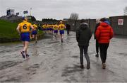 3 February 2019; Roscommon players make their way to the pitch for the second half of the Allianz Hurling League Division 3A Round 2 match between Roscommon and Monaghan at Dr Hyde Park in Roscommon. Photo by Piaras Ó Mídheach/Sportsfile