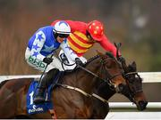 3 February 2019; Klassical Dream, right, with Ruby Walsh up, races alsongside Aramon, left, with Paul Townend up, on their way to winning the Chanelle Pharma Novice Hurdle during Day Two of the Dublin Racing Festival at Leopardstown Racecourse in Dublin. Photo by Seb Daly/Sportsfile