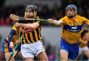 3 February 2019; Kevin Kelly of Kilkenny in action against David McInerney of Clare during the Allianz Hurling League Division 1A Round 2 match between Clare and Kilkenny at Cusack Park in Ennis, Co. Clare. Photo by Brendan Moran/Sportsfile
