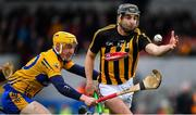 3 February 2019; Kevin Kelly of Kilkenny in action against Rory Hayes of Clare during the Allianz Hurling League Division 1A Round 2 match between Clare and Kilkenny at Cusack Park in Ennis, Co. Clare. Photo by Brendan Moran/Sportsfile