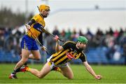 3 February 2019; Martin Keoghan of Kilkenny in action against Colm Galvin of Clare during the Allianz Hurling League Division 1A Round 2 match between Clare and Kilkenny at Cusack Park in Ennis, Co. Clare. Photo by Brendan Moran/Sportsfile