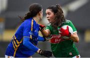 3 February 2019; Dayna Finn of Mayo in action against Anna Rose Kennedy of Tipperary during the Lidl Ladies Football National League Division 1 Round 1 match between Mayo and Tipperary at Swinford Amenity Park in Swinford, Co. Mayo. Photo by Sam Barnes/Sportsfile