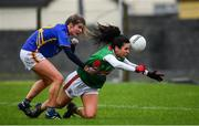 3 February 2019; Noirin Moran of Mayo in action against Laura Dillon of Tipperary during the Lidl Ladies Football National League Division 1 Round 1 match between Mayo and Tipperary at Swinford Amenity Park in Swinford, Co. Mayo. Photo by Sam Barnes/Sportsfile