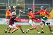 3 February 2019; Jason Flynn of Galway in action against Eoin Nolan, Michael Doyle and Seamus Murphy of Carlow during the Allianz Hurling League Division 1B Round 2 match between Carlow and Galway at Netwatch Cullen Park in Carlow. Photo by Matt Browne/Sportsfile