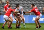 3 February 2019; Cian O'Donoghue of Kildare is tackled by Mathew Taylor, left, and Paul Kerrigan of Cork during the Allianz Football League Division 2 Round 2 match between Cork and Kildare at Páirc Uí Chaoimh in Cork. Photo by Eóin Noonan/Sportsfile