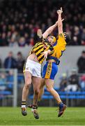3 February 2019; Billy Ryan of Kilkenny in action against Jack Browne of Clare during the Allianz Hurling League Division 1A Round 2 match between Clare and Kilkenny at Cusack Park in Ennis, Co. Clare. Photo by Brendan Moran/Sportsfile