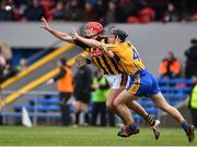 3 February 2019; James Maher of Kilkenny n action against Jack Browne of Clare during the Allianz Hurling League Division 1A Round 2 match between Clare and Kilkenny at Cusack Park in Ennis, Co. Clare. Photo by Brendan Moran/Sportsfile
