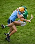 3 February 2019; Colin Egan of Offaly in action against Chris Crummey of Dublin during the Allianz Hurling League Division 1B Round 2 match between Offaly and Dublin at Bord Na Mona O'Connor Park in Tullamore, Co. Offaly. Photo by David Fitzgerald/Sportsfile