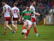 3 February 2019; Andy Moran of Mayo scoring a point after taking a mark during the Allianz Football League Division 1 Round 2 match between Tyrone and Mayo at Healy Park in Omagh, Tyrone. Photo by Oliver McVeigh/Sportsfile