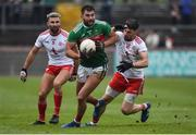 3 February 2019; Aidan O'Shea of Mayo in action against Tiernan McCann and Matthew Donnelly of Tyrone during the Allianz Football League Division 1 Round 2 match between Tyrone and Mayo at Healy Park in Omagh, Tyrone. Photo by Oliver McVeigh/Sportsfile
