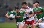 3 February 2019; Andy Moran of Mayo in action against Michael McKernan of Tyrone during the Allianz Football League Division 1 Round 2 match between Tyrone and Mayo at Healy Park in Omagh, Tyrone. Photo by Oliver McVeigh/Sportsfile