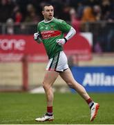 3 February 2019; Keith Higgins of Mayo runs out after scoring his side's first goal during the Allianz Football League Division 1 Round 2 match between Tyrone and Mayo at Healy Park in Omagh, Tyrone. Photo by Oliver McVeigh/Sportsfile