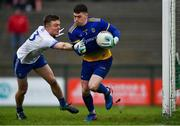 3 February 2019; Darren O'Malley of Roscommon in action against Conor McCarty of Monaghan during the Allianz Football League Division 1 Round 2 match between Roscommon and Monaghan at Dr Hyde Park in Roscommon. Photo by Piaras Ó Mídheach/Sportsfile
