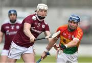 3 February 2019; Eoin Nolan of Carlow in action against Joe Canning of Galway during the Allianz Hurling League Division 1B Round 2 match between Carlow and Galway at Netwatch Cullen Park in Carlow. Photo by Matt Browne/Sportsfile