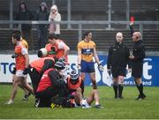 3 February 2019; Referee Cormac Reilly shows a red card to Cathal O'Connor of Clare during the Allianz Football League Division 2 Round 2 match between Armagh and Clare at Páirc Esler in Newry, County Down. Photo by Philip Fitzpatrick/Sportsfile