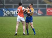 3 February 2019; Stefan Campbell of Armagh tussles with Kieran Malone of Clare during the Allianz Football League Division 2 Round 2 match between Armagh and Clare at Páirc Esler in Newry, County Down. Photo by Philip Fitzpatrick/Sportsfile