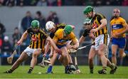 3 February 2019; Gary Cooney of Clare in action against Kilkenny players, from left, Tommy Walsh, Conor Browne, Paddy Deegan and Paul Murphy of Kilkenny during the Allianz Hurling League Division 1A Round 2 match between Clare and Kilkenny at Cusack Park in Ennis, Co. Clare. Photo by Brendan Moran/Sportsfile