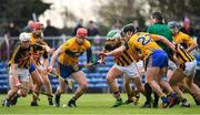 3 February 2019; John Conlon of Clare competes for possession with John Donnelly, left, and Paddy Deegan of Kilkenny during the Allianz Hurling League Division 1A Round 2 match between Clare and Kilkenny at Cusack Park in Ennis, Co. Clare. Photo by Brendan Moran/Sportsfile