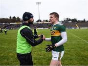 3 February 2019; Tommy Walsh of Kerry with Pádraig Murphy, Kerry Strength and Conditioning coach, following the Allianz Football League Division 1 Round 2 match between Cavan and Kerry at Kingspan Breffni in Cavan. Photo by Stephen McCarthy/Sportsfile
