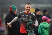 3 February 2019; Robbie Hennelly of Mayo celebrates following the Allianz Football League Division 1 Round 2 match between Tyrone and Mayo at Healy Park in Omagh, Tyrone. Photo by Oliver McVeigh/Sportsfile