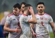 3 February 2019; Dejected Tyrone players, left, Rory Brennan, Niall Sludden and Paudie Hampsey following the Allianz Football League Division 1 Round 2 match between Tyrone and Mayo at Healy Park in Omagh, Tyrone. Photo by Oliver McVeigh/Sportsfile