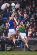 3 February 2019; Diarmuid O'Connor of Kerry in action against Killian Clarke, left, and Thomas Galligan of Cavan during the Allianz Football League Division 1 Round 2 match between Cavan and Kerry at Kingspan Breffni in Cavan. Photo by Stephen McCarthy/Sportsfile