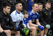 3 February 2019; Cavan match day mascot James Dalton of the Mullahoran GAA Club sits in the team photograph prior to the Allianz Football League Division 1 Round 2 match between Cavan and Kerry at Kingspan Breffni in Cavan. Photo by Stephen McCarthy/Sportsfile