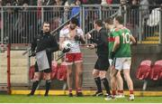 3 February 2019; Kyle Coney of Tyrone showing his ripped shirt to Referee Joe McQuillan following a second half incident during the Allianz Football League Division 1 Round 2 match between Tyrone and Mayo at Healy Park in Omagh, Tyrone. Photo by Oliver McVeigh/Sportsfile