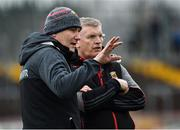 3 February 2019; Mayo manager James Horan, left, along with selector Martin Barrett during the Allianz Football League Division 1 Round 2 match between Tyrone and Mayo at Healy Park in Omagh, Tyrone. Photo by Oliver McVeigh/Sportsfile