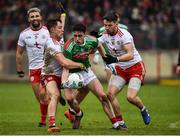 3 February 2019; Ciaran Treacy of Mayo in action against Kieran McGeary and Matthew Donnelly of Tyrone during the Allianz Football League Division 1 Round 2 match between Tyrone and Mayo at Healy Park in Omagh, Tyrone. Photo by Oliver McVeigh/Sportsfile
