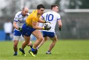 3 February 2019; Conor Hussey of Roscommon gets past Gavin Doogan, left, and Fintan Kelly of Monaghan during the Allianz Football League Division 1 Round 2 match between Roscommon and Monaghan at Dr Hyde Park in Roscommon. Photo by Piaras Ó Mídheach/Sportsfile